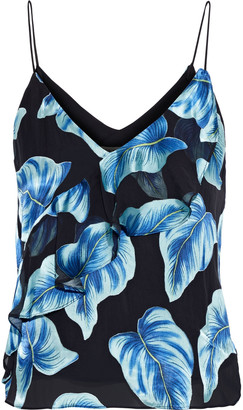 Alice + Olivia Lavonia Ruffled Printed Burnout Chiffon Camisole