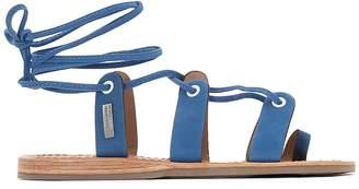 Les Tropéziennes Bakio Suede Flat Sandals with Tie-Leg