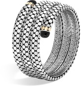 John Hardy 18K Yellow Gold and Sterling Silver Batu Dot Triple Coil Bracelet with Black Onyx