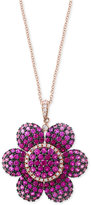 Effy Final Call by Pink Sapphire (4-5/8 ct. t.w.) & Diamond (1/5 ct. t.w.) Ombré Flower Pendant Necklace in 14k Rose Gold