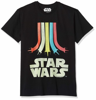 MERCHCODE Men's Star Wars Rainbow Logo Tee Black XXL T-Shirt Xx-Large