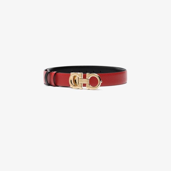 Salvatore Ferragamo red Gancini reversible leather belt
