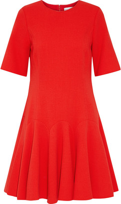 Oscar de la Renta Pleated Wool-blend Crepe Dress