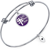 "Unwritten Faith, Hope, Love"" Adjustable Message Bangle Bracelet in Stainless Steel"