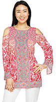 As Is Belle by Kim Gravel Cold Shoulder Printed Tunic