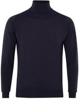 John Smedley Belvoir Navy Fine-knit Merino Wool Jumper
