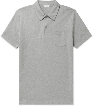 Sunspel Riviera Slim-Fit Cotton-Mesh Polo Shirt - Men - Gray