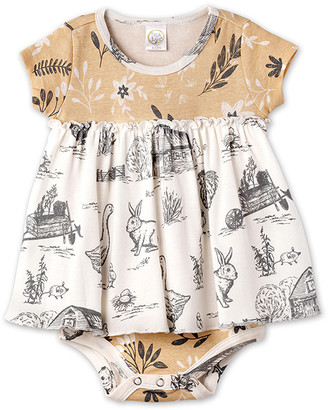 Tesa Babe Girls' Casual Dresses Wheat/Charcoal/Ivory - Wheat & Charcoal Country Farm Bunny Skirted Bodysuit - Newborn & Infant