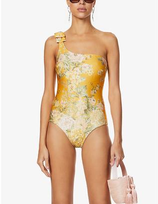 Zimmermann Amelie one-shoulder floral-print swimsuit