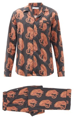 Desmond & Dempsey Sansindo Tiger-print Pyjamas And Eye Mask - Black Orange