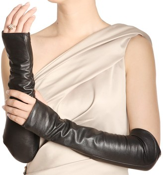 Warmen Women Genuine Nappa Leather Elbow Long Fingerless Driving Gloves ARM Warmer - Black - Medium