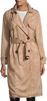 Goldie London Faux-Suede Trench Coat, Beige