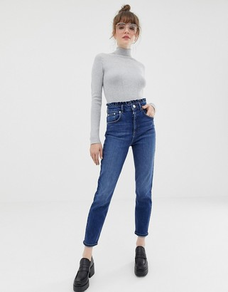 ASOS DESIGN high rise farleigh 'slim' mom jeans in mid wash blue with frill waist band