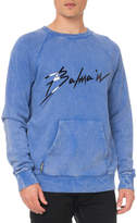 Balmain Men's Logo Graphic Crinkled Sweatshirt