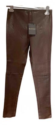 Balenciaga Burgundy Leather Trousers