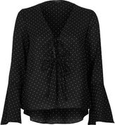 River Island Womens Black polka dot cover-up top