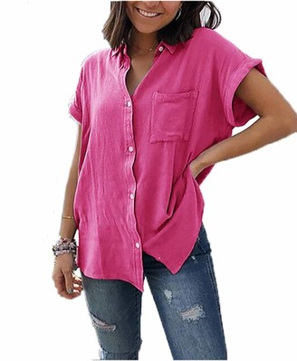 Yutila Womens Blouses Summer Tops Short Sleeve Solid Color Casual Button Down Shirts Black