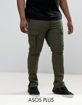 Asos Plus Super Skinny Fit Pants With Zip Cargo Pockets In Khaki