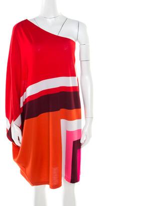 Christian Dior Multicolor Geometric Pattern Wool One Shoulder Mini Dress S