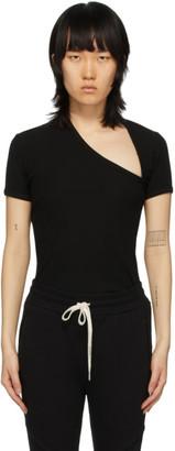 John Elliott Black Cotton Rib Asymmetrical T-Shirt