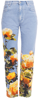 MSGM Cropped Floral-print Mid-rise Straight-leg Jeans