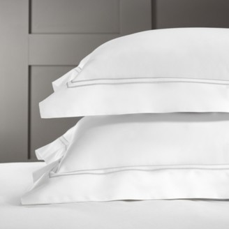 The White Company Symons Cord Oxford Pillowcase with Border Single, White Silver, Large Square