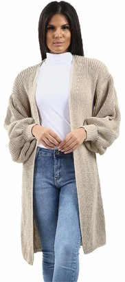 Flirty Wardrobe Long Knitted Cardigan Balloon Sleeve Oversized Open Front Coat Winter Womens New (Size UK 12-16