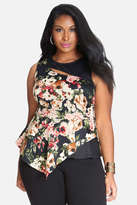 Fashion to Figure Garden Floral Cutout Peplum Top