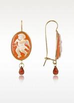 Del Gatto Angel w/Flute Cornelian Cameo Drop Earrings