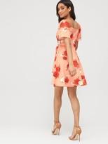 boohoo Square Neck Belted Floral Skater Dress - Coral