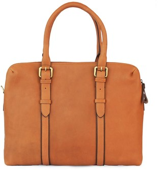 Nappa Dori Dual Zip Laptop Bag Tan Leather