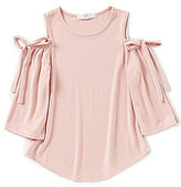 Moa Moa Big Girls 7-16 Cold-Shoulder Tie Bell Sleeve Top