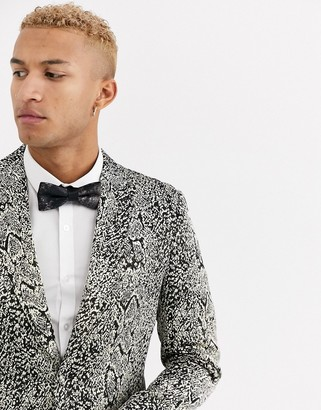 Tux Till Dawn Tux Til Dawn slim fit jacquard snake print blazer-Silver