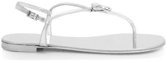 Giuseppe Zanotti Emilie Swarovski Crystal Leather Thong Sandals