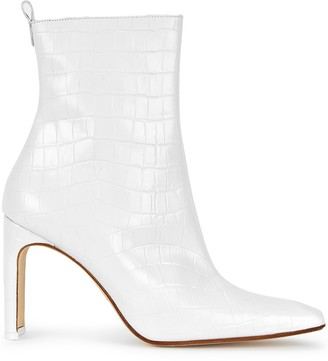Miista Marcelle 90 White Crocodile-effect Ankle Boots