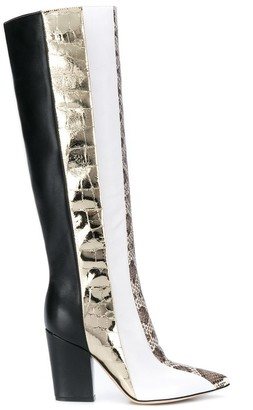 Sergio Rossi color-block knee-high boots
