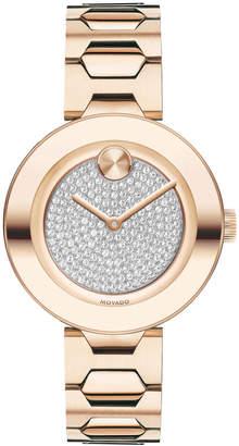 Movado 32mm BOLD Crystal Bracelet Watch, Carnation