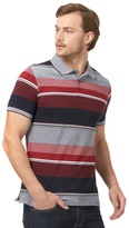 Maine New England Big And Tall Navy And Red Striped Tailored Polo Shirt