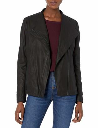 T Tahari Women's Kelly Asymmetrical Fitted Peplum Leather Jacket