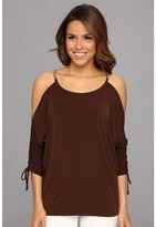 MICHAEL Michael Kors Cold Shoulder Ruched Top (Chocolate) Women's Blouse