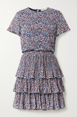 MICHAEL Michael Kors Tiered Floral-print Plisse-georgette Mini Dress - Navy