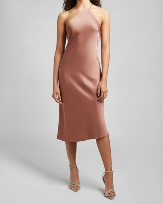 Express Satin Cross Back One Shoulder Slip Dress