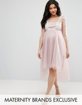 Chi Chi Maternity Chi Chi London Maternity Lace Embroidered Mesh Overlay Dress With Dip Hem