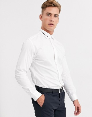 Selected slim fit stretch hidden placket tipped collar shirt in white