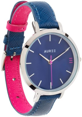Auree Jewellery Montmartre Silver Watch With Royal Blue & Hot Pink Leather Strap