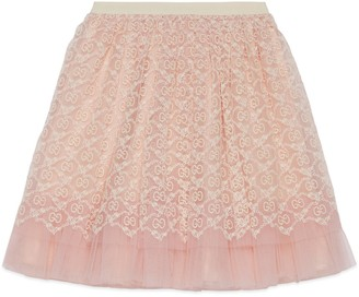 Gucci Children's tulle skirt with GG garland embroidery