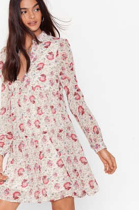 Nasty Gal Womens Chiffon and Off Floral Mini Dress - White