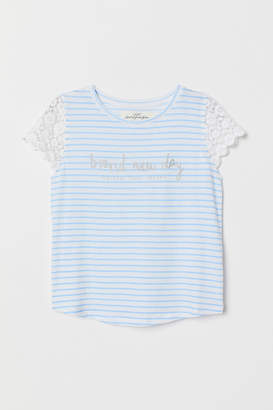 H&M Top with Lace - White