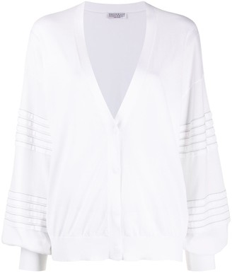 Brunello Cucinelli Ribbed Detail Fine Knit Cardigan