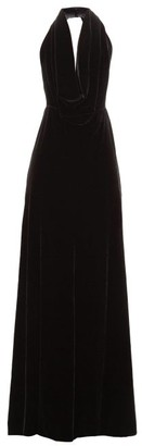 A.W.A.K.E. Mode Oyster Halterneck Velvet Maxi Dress - Black